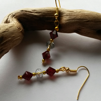 Vampira - red and clear beaded earrings