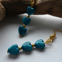 Earrings hearts in turquoises