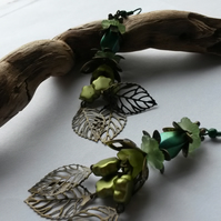 Earrings Large Green with bronze leaves