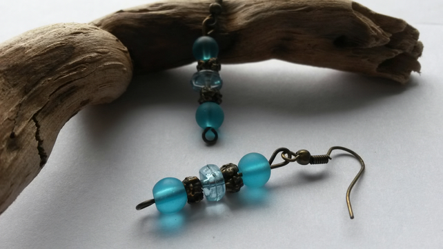 Earrings Ice with turquoise beads