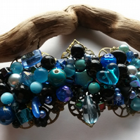 Hair Clip Turquoise, Blue and Black