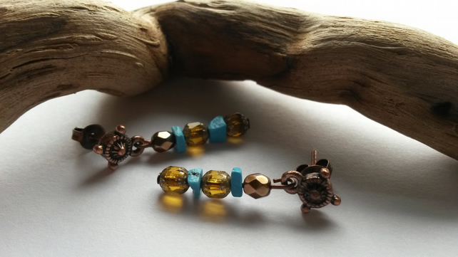Earrings Turquoise and Copper Studs