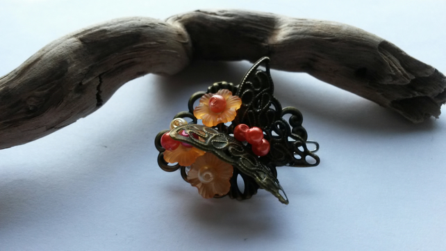 Hair clip Orange Flowers and Butterfly