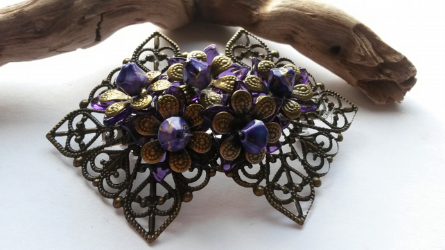 Hair Clip Bronze Flowers with Purple Beads