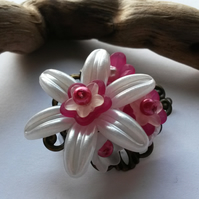 Hair Clip Pink and White Flowered Hairclip