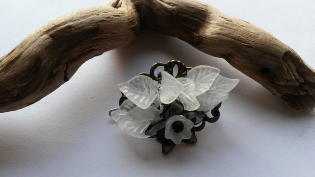 Hair Clip Black and White Lucite Flower