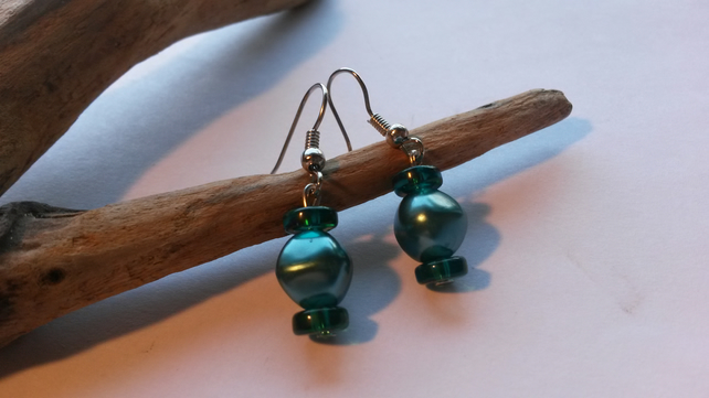 Earrings Two Greens