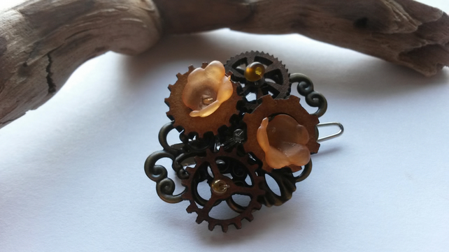 Hair Clip Orange Cogs