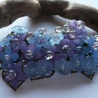 Hair Clip  Garland of Purple and Blue