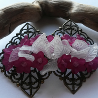 Hair Clip Cerise and white