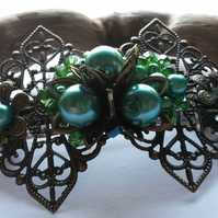 Hair Clip Green and Bronze