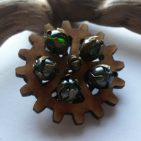 Hair Clip Steampunk Cogs and Green Beads
