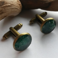 Cufflinks Snakeskin Green