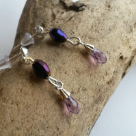 Studs with tiny double drops in purple