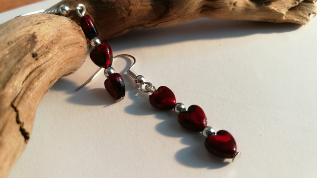 Earrings, red and black hearts