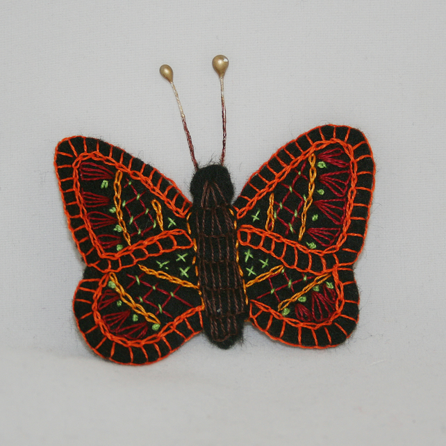Embroidered Felt Brooch - Butterfly