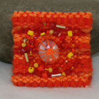 Embroidered Brooch - Orange Glass