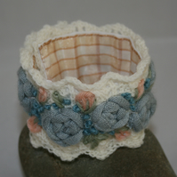 Embroidered and Knitted Cuff - Roses on  ivory lace
