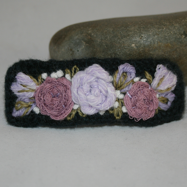 Embroidered Barrette - Roses in Lilac