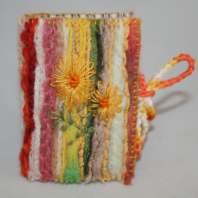 Embroidered and Felted Needle Case - Yellow Daisies
