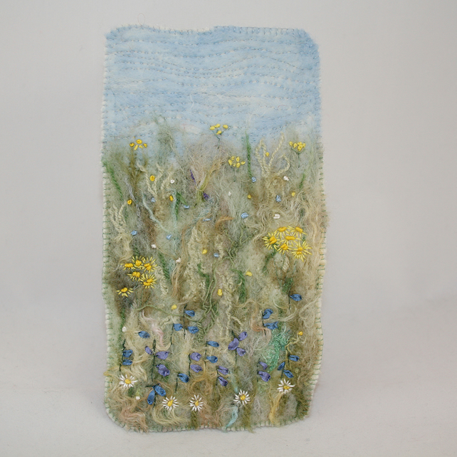 Embroidered and Felted Hanging - A Harebell Meadow