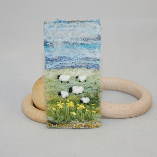 Spring Landscape Embroidered Brooch