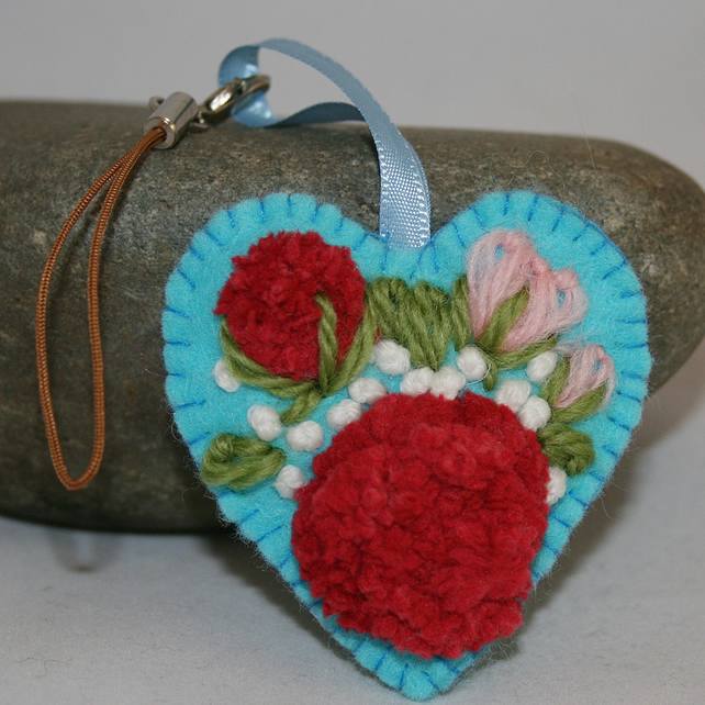 Embroidered Heart Charm
