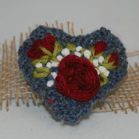 Embroidered Brooch - Red Roses on Blue Heart