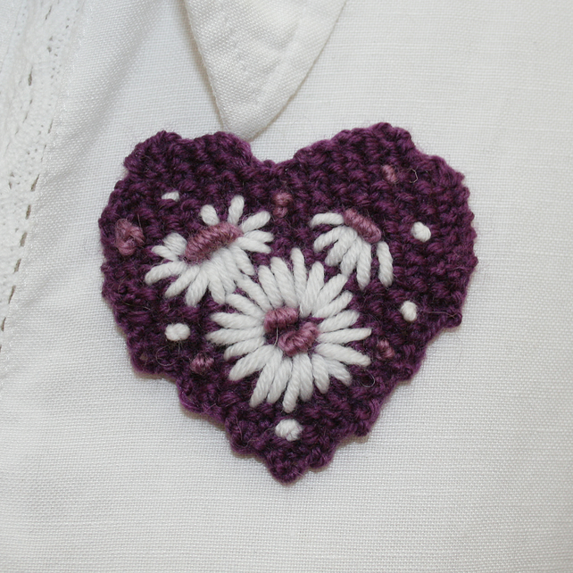 Embroidered Brooch - Purple Heart