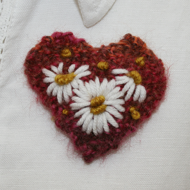 Embroidered Brooch - Russet Heart