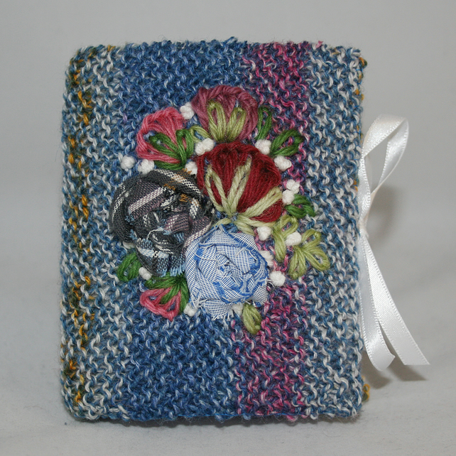 Embroidered Notepad - Blue Roses