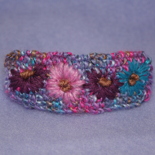 Embroidered Barrette - Michaelmas Daisies