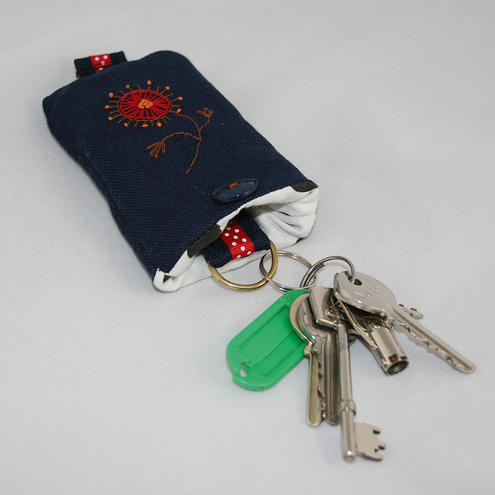Red Flowered Key Case