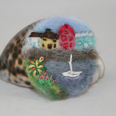Embroidered Brooch - Harbour View