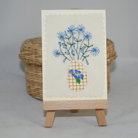 ACEO - Vase of flowers - blue