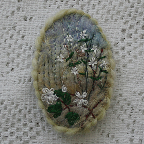 White campion and Bramble - Brooch