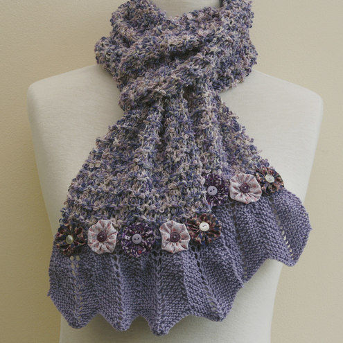 Sale Lilac scarf - with lace and flowers