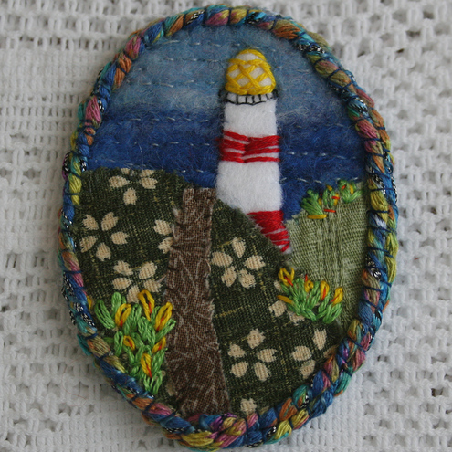 Star Point Light House - embroidered brooch