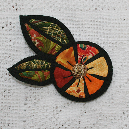 Gold Flower and Leaves Embroidered Felt Brooch