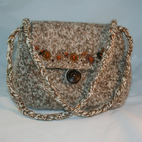 Brown Daisies Felted Bag