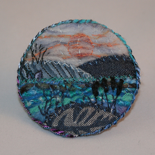 Sunset over Lake - Brooch
