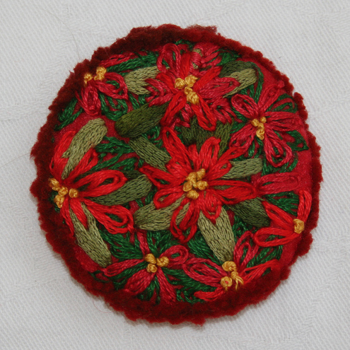Poinsettia Brooch - Hand Embroidered