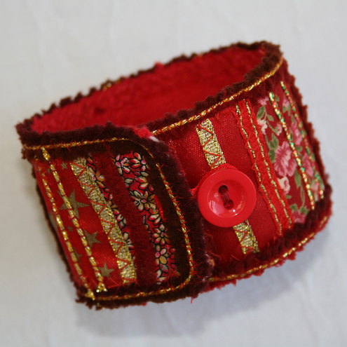 Red and Gold - Patchwork cuff / bracelet