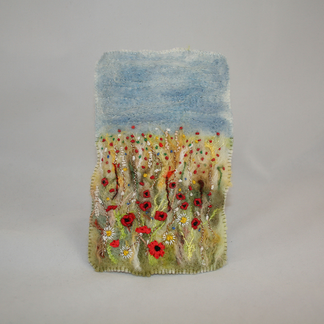 Embroidered and Felted Hanging - Poppy Fields