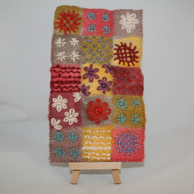 Embroidered Hanging - Patchwork squares