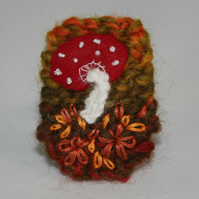 Toadstool Brooch - Embroidered and knitted