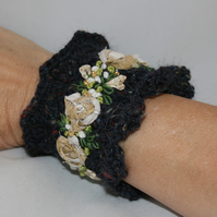 Embroidered and Knitted Cuff - Roses on navy lace