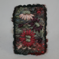 Embroidered Brooch - Pink Daisies on Moss Green