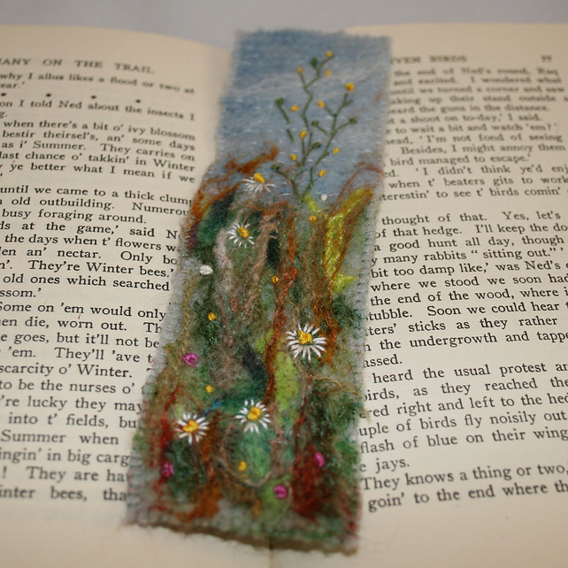 Wildflower Meadow - Embroidered and felted bookmark