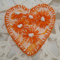Embroidered Heart Brooch - Orange Daisies on lace